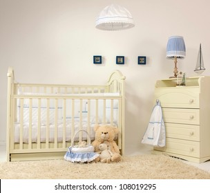 interior of baby room indoors bed carpet