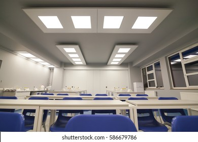 Interior background of clean modern white medical, teaching, chemical or research room.