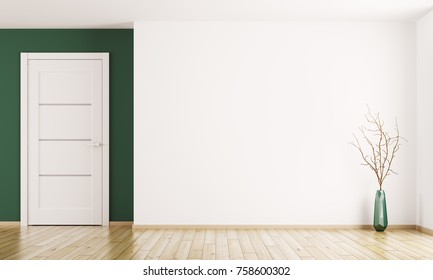 Interior background of empty room with white door and vase with branch 3d rendering