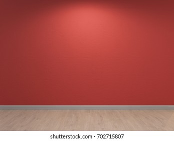 Interior background Red wall with concrete plastering and Light wooden Floor