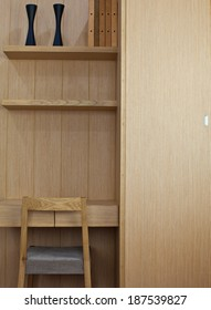 Interior of a bad room with wooden furniture