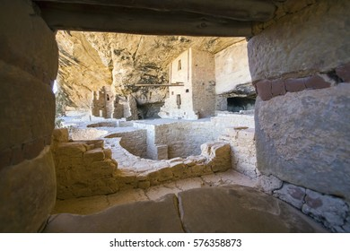 Interior of Balcony House, a historic ancient Pueblo cliff dwelling at Mesa Verde National Park in Colorado.