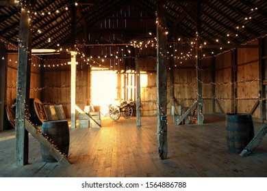 Interior of a barn with lights