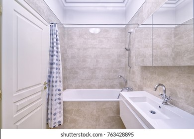 The interior of bathroom.