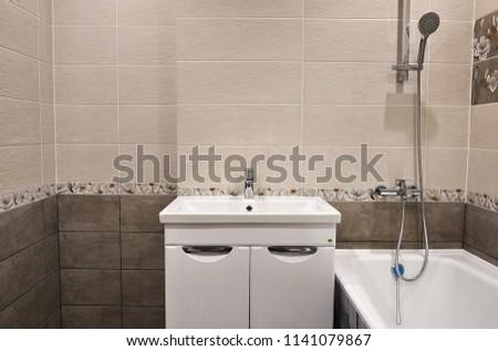 Interior Bathroom Decorated Beautiful Tiles Scenery Stock Photo