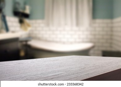 interior of bathroom and desk