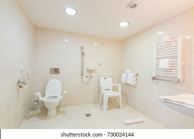 Interior of bathroom for disabled people