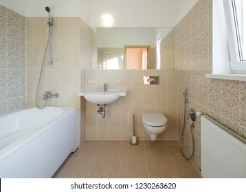 Interior of the bathroom in modern home.