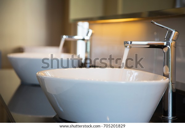 Interior Bathroom Sink Basin Faucet Open Stock Photo Edit Now