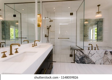 INTERIOR OF BATHROOM IN SUBURBAN HOME.