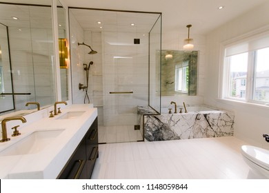 INTERIOR OF BATHROOM IN SUBURBAN HOME.