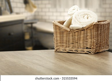 interior of bathroom and towels of white color