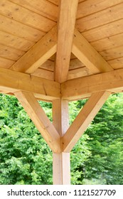 Interior beams on a wooden structure