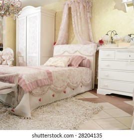 interior to beautiful child's bedroom in luxury style, expensive furniture