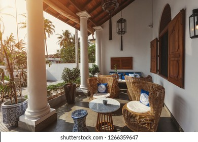 Interior of beautiful luxury tropical hotel in Sri Lanka outdoor