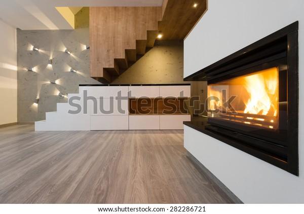 Interior Beautiful Modern Living Room Fireplace Stock Photo ...