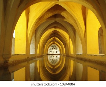 Interior of a beautiful palace of Alcazar in Spanish city of Seville