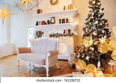 Interior of beautiful room with Christmas decorations