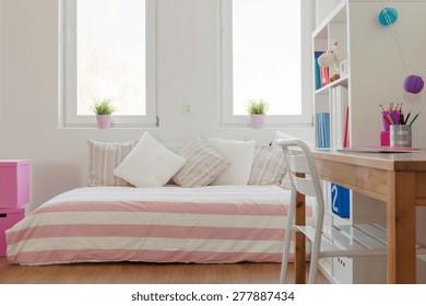 Interior of beauty pastel room for schoolchild