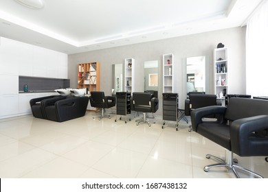 Interior of beauty salon in black and white colors, free space