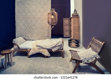 interior of bed room with  textile elements