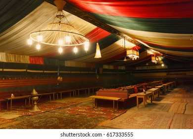 Interior of a Bedouin restaurant in the Wadi Rum desert in Jordan.
