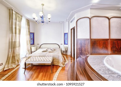 The interior of the bedroom combined with bathroom.