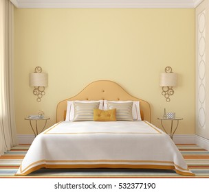Interior of bedroom for girl. 3d render.
