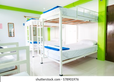 Interior of a bedroom in hostel.