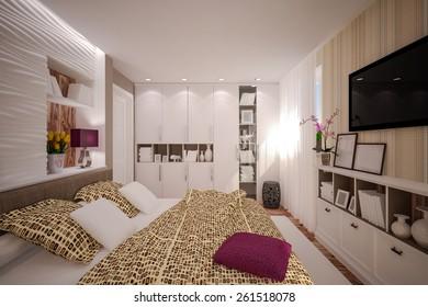 Interior Bedroom in modern style. Interior design. 3D illustration