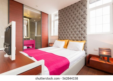 Interior of a bedroom in a new hotel