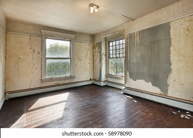 Interior of a bedroom in an old abandoned home