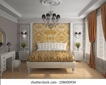 Interior of a bedroom room 3D rendering