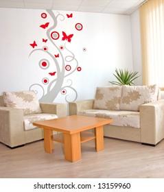 interior in beige colors