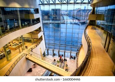 Interior of the Black Diamond, Copenhagen Royal Library. Denmark. February 2020