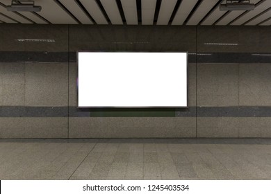 interior with blank billboard  on Subway station .Garage underground    blank billboard on the sideway in Subway station. image for copy space, advertisement.