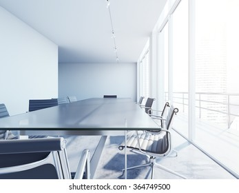 Interior of blank conference room with sun rays. White and modern office. 3d rendering
