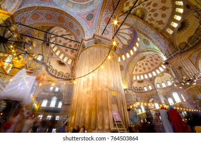 Interior of the Blue Mosque, Istanbul, Turkey, on August 20, 2017.