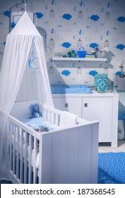 interior of boy's  baby room
