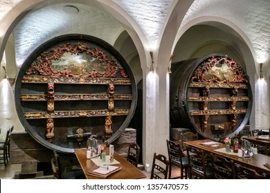 Interior of Bremer Ratskeller, One of the oldest restaurants in Germany. The restaurant holds Rudesheimer Apostelwein ,the oldest wine in Germany. Bremen, Germany. March 2019