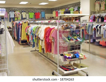 Interior of a bright, clean thrift shop
