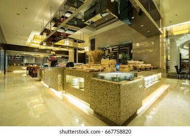 Interior of buffet dinner restaurant.