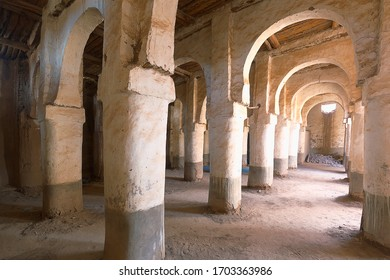 Interior of a building in the M'Hamid El Ghizlane or Lamhamid Ghozlane region is a small oasis town in the Zagora province of Drâa-Tafilalet in Morocco, Africa.