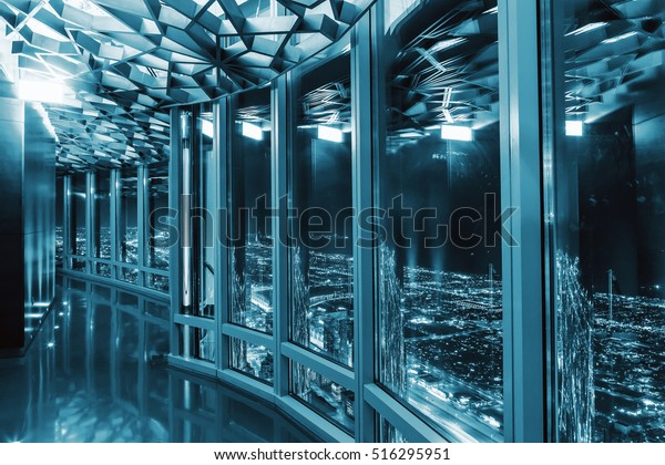 Interior Burj Khalifa 125 Floor Wooden Stock Photo (Edit Now