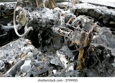 interior of a burned car