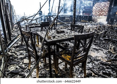 interior of burned-down wooden house