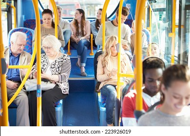 Interior Of Bus With Passengers