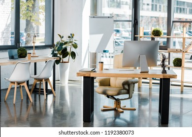 interior of business office with wooden furniture and computer on table