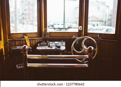 Interior of the cabin of an old Porto tram with the controls and levers, all made of wood and an exquisite conservation