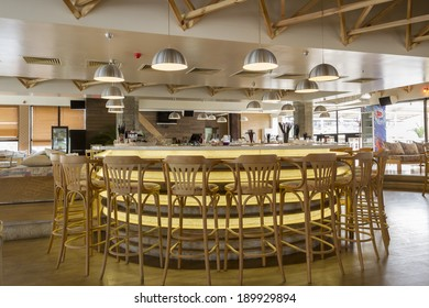 Interior of cafe in bright colors, modern